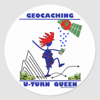 Geocache U Turn Queen Stickers