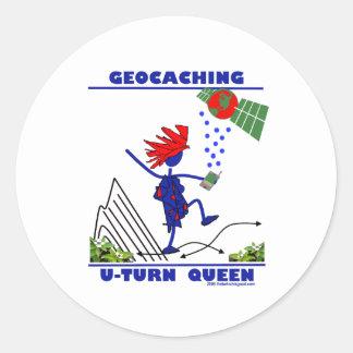 Geocache U Turn Queen Round Sticker