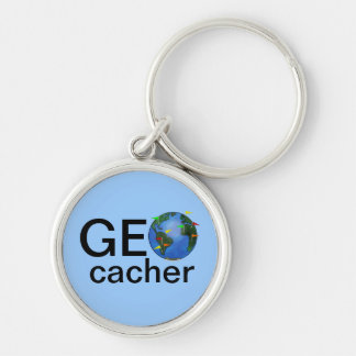 Geocacher Earth Geocaching Customizable Swag Silver-Colored Round Key Ring