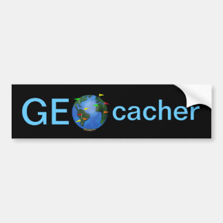 Geocacher Earth with Flags Geocaching Custom Car Bumper Sticker