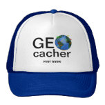 Geocacher Earth with Flags Geocaching Custom Hats