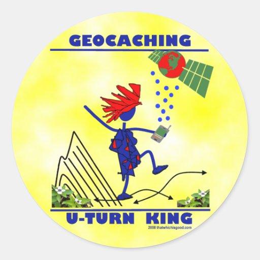 Geocaching U Turn King Round Sticker