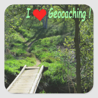 Geocaching: Wooden bridge and path in the forest Square Sticker