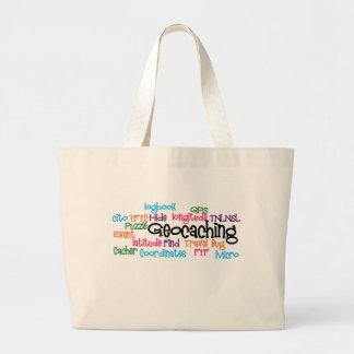 Geocaching Word Collage Large Tote Bag