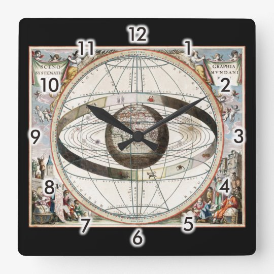 Geocentric model square wall clock