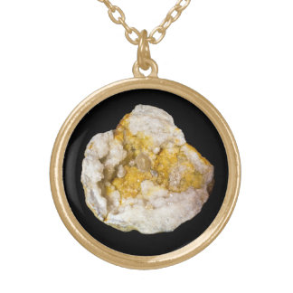 Geode Half with White and Yellow Crystals2 Personalized Necklace