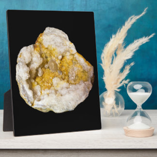 Geode Half with White and Yellow Crystals Plaque