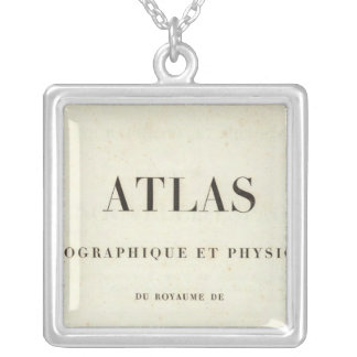 Geographical and Physical Half Title Atlas Silver Plated Necklace