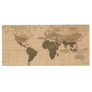 Geographical Distribution of Vegetation Wood USB Flash Drive