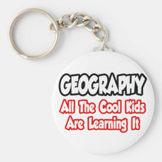 Geography...All The Cool Kids Basic Round Button Key Ring