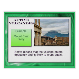Geography, Earth Science, Active Volcanoes Poster