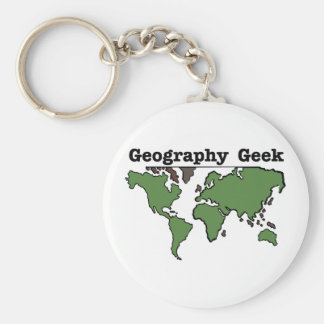 Geography Geek Basic Round Button Key Ring