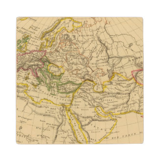Geography of the Middle Ages Wood Coaster