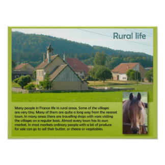 Geography, Social studies, French rural life Poster