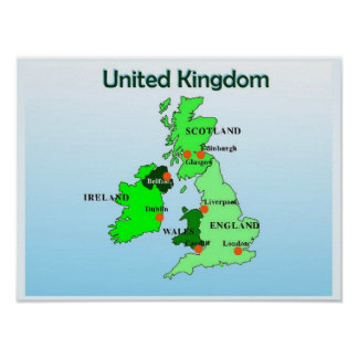 Geography, Social Studies, United Kingdom, Map Poster