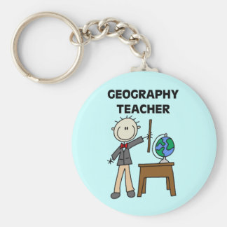 Geography Teacher Basic Round Button Key Ring