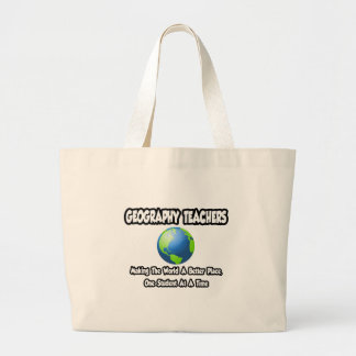Geography Teachers World a Better Place Canvas Bags