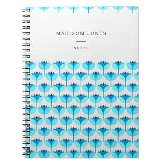 Geolilies - blue lily geometrical pattern notebook