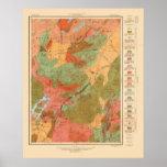 Geologic Map of the Lake Placid Quadrangle - 1914 Poster