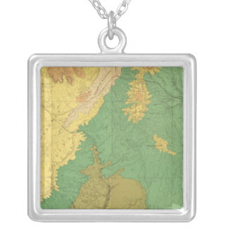 Geologic Map Of The Mesozoic Terraces Silver Plated Necklace