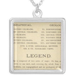 Geological and geographical atlas of Colorado Silver Plated Necklace