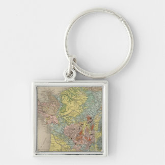 Geological France Silver-Colored Square Key Ring