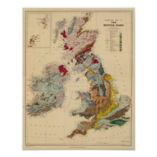 Geological map British Isles Posters