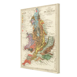 Geological map England, Wales Canvas Print
