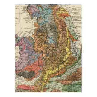 Geological map England, Wales Postcard