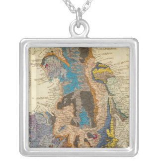 Geological map, England, Wales Silver Plated Necklace