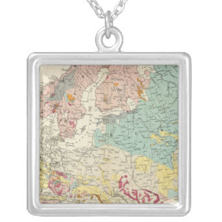 Geological map Europe Silver Plated Necklace