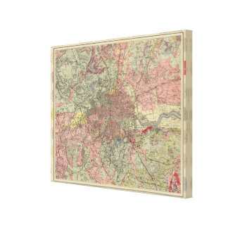 Geological map London Stretched Canvas Print