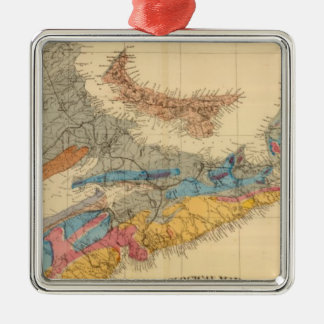 Geological map, Maritime Provinces Silver-Colored Square Decoration