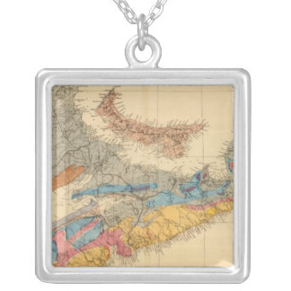 Geological map, Maritime Provinces Silver Plated Necklace