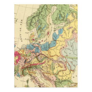 Geological Map of Europe Post Card