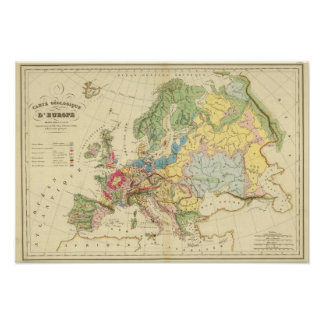 Geological Map of Europe Poster