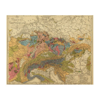 Geological map of Germany Wood Wall Art