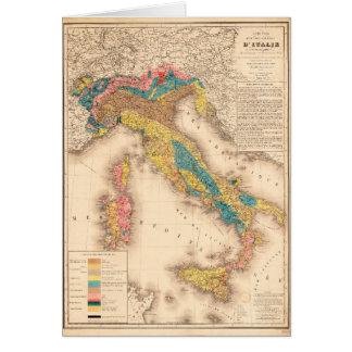 Geological Map of Italy by H. de Collegno (1844) Card