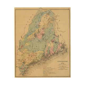 Geological map of Maine Wood Wall Art