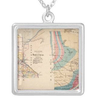 Geological map of Minnesota by NH Winchell Silver Plated Necklace