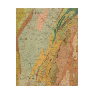 Geological Map of New Hampshire 2 Wood Print