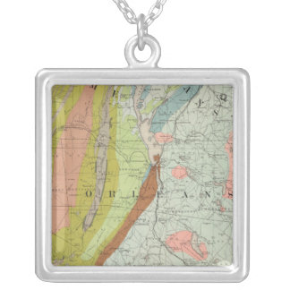 Geological Map of New Hampshire 3 Silver Plated Necklace