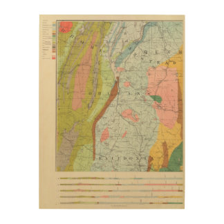 Geological Map of New Hampshire 3 Wood Wall Decor