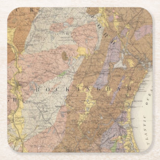 Geological Map of New Hampshire 4 Square Paper Coaster