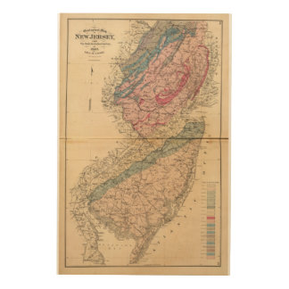 Geological map of New Jersey Wood Wall Decor
