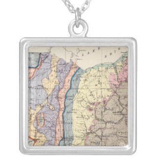 Geological map of Ohio Silver Plated Necklace