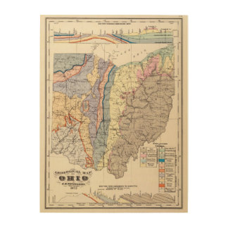Geological map of Ohio Wood Wall Art