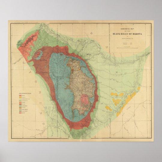 Geological map of the Black Hills of Dakota Poster