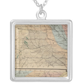 Geological map of the State of Iowa Silver Plated Necklace