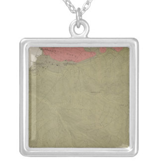 Geological Map of the Sulphur Bank District Silver Plated Necklace